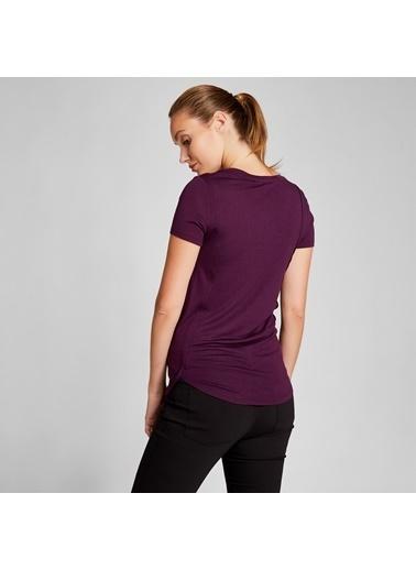 Vekem-Limited Edition U Yaka Kısa Kol Basic Bluz Mor